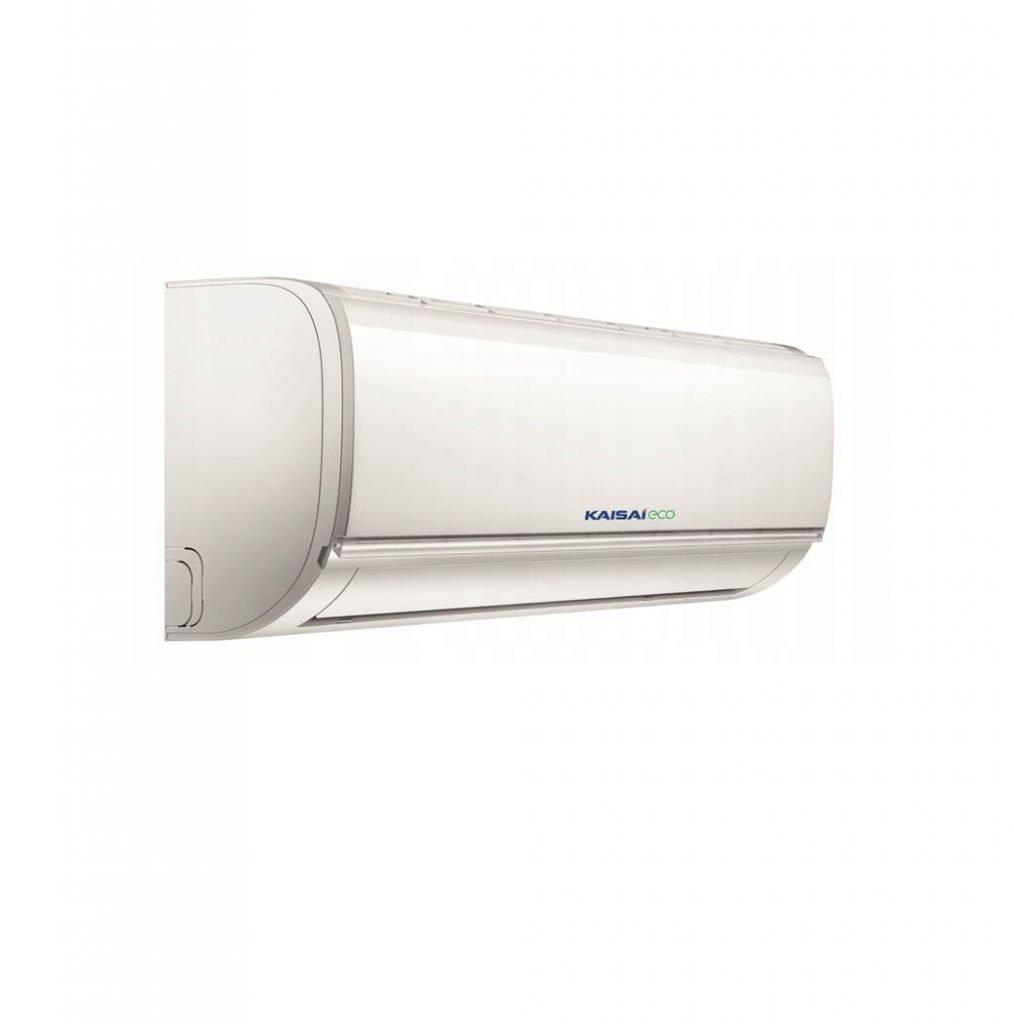 Vnútorná jednotka nástennej klimatizácie značky KAISAI ECO, diaľkové ovládanie a typ použitého chladiva (R32)