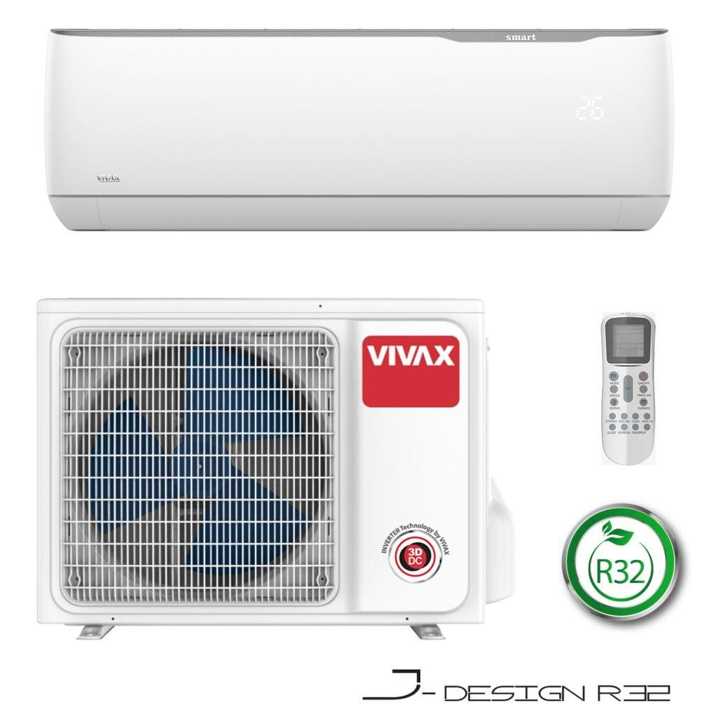 Vonkajšia a vnútorná jednotka nástennej klimatizácie značky VIVAX J dizajn, diaľkové ovládanie a typ použitého chladiva (R32)