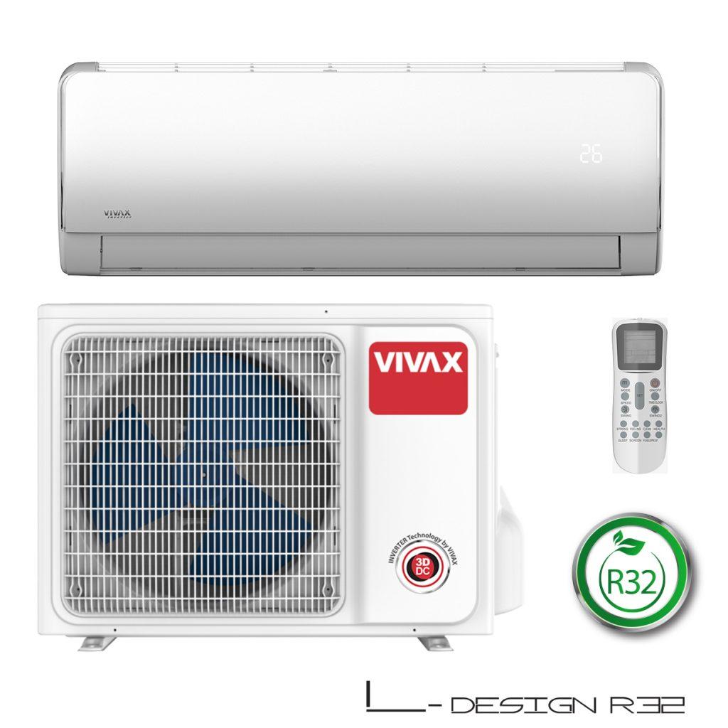 Vonkajšia a vnútorná jednotka nástennej klimatizácie značky VIVAX L dizajn, diaľkové ovládanie a typ použitého chladiva (R32)
