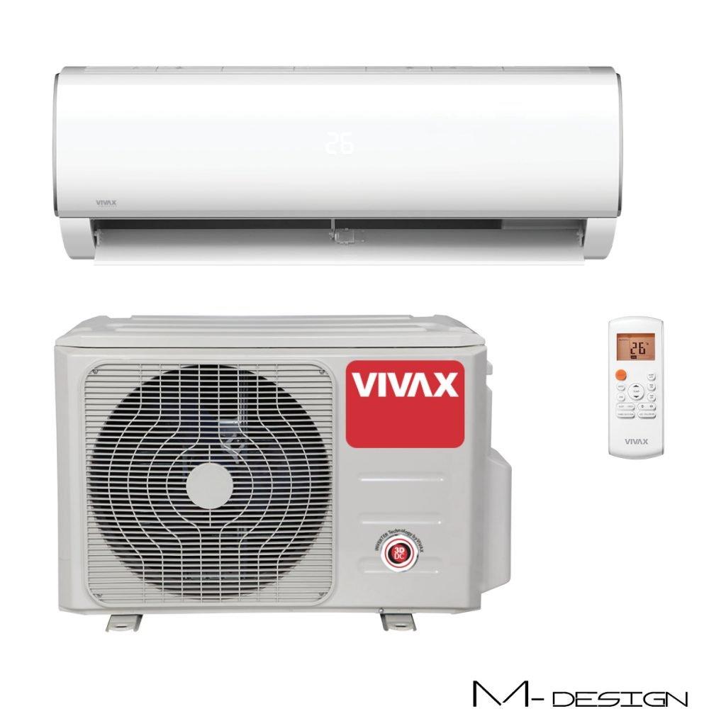 Vonkajšia a vnútorná jednotka nástennej klimatizácie značky VIVAX M dizajn, diaľkové ovládanie a typ použitého chladiva (R32)