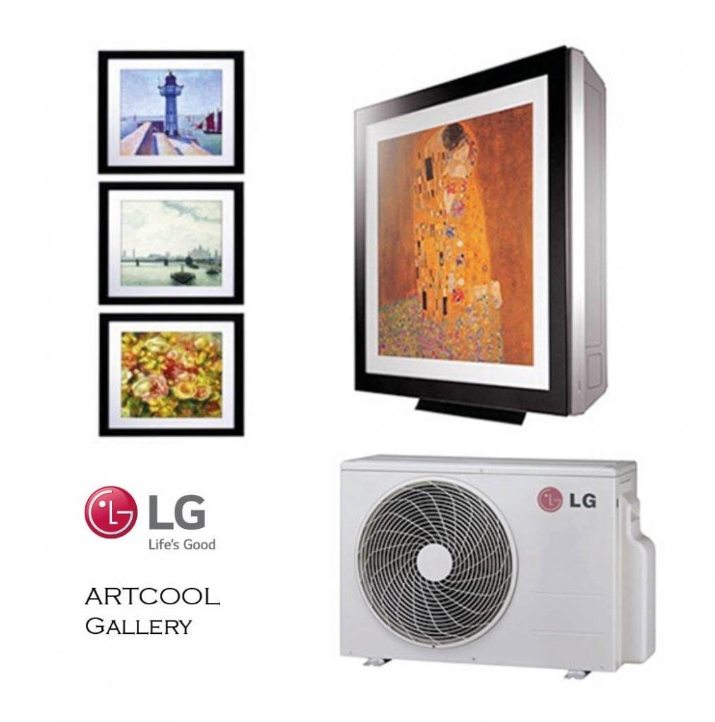 Vonkajšia a vnútorná jednotka nástennej klimatizácie značky LG ARTCOOL GALLERY vyzerá ako hrubší obraz na stene s vymeniteľným obrázkom