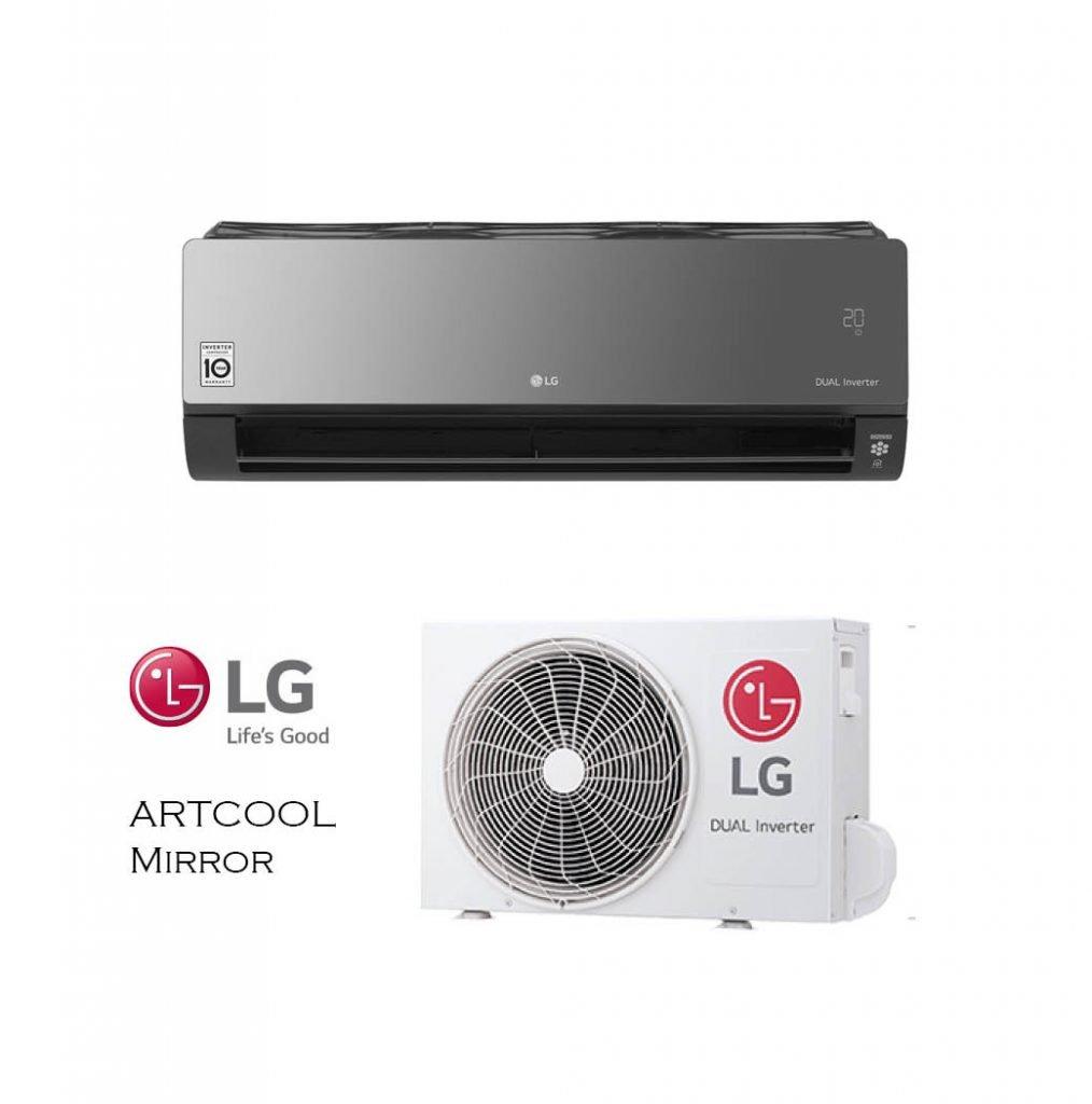 Vonkajšia a vnútorná jednotka nástennej klimatizácie značky LG ARTCOOL Mirror