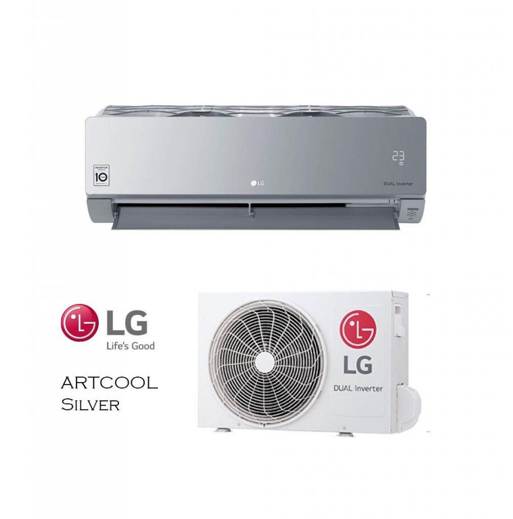 Vonkajšia a vnútorná jednotka nástennej klimatizácie značky LG ARTCOOL Silver
