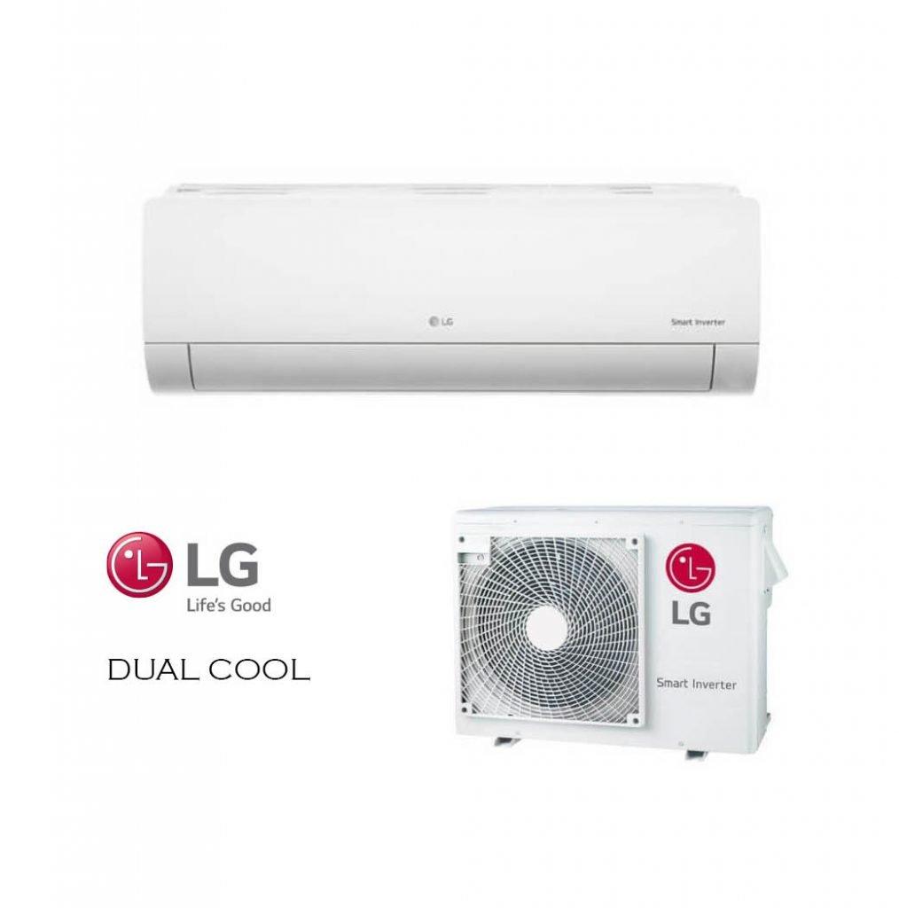 Vonkajšia a vnútorná jednotka nástennej klimatizácie značky LG DUAL COOL