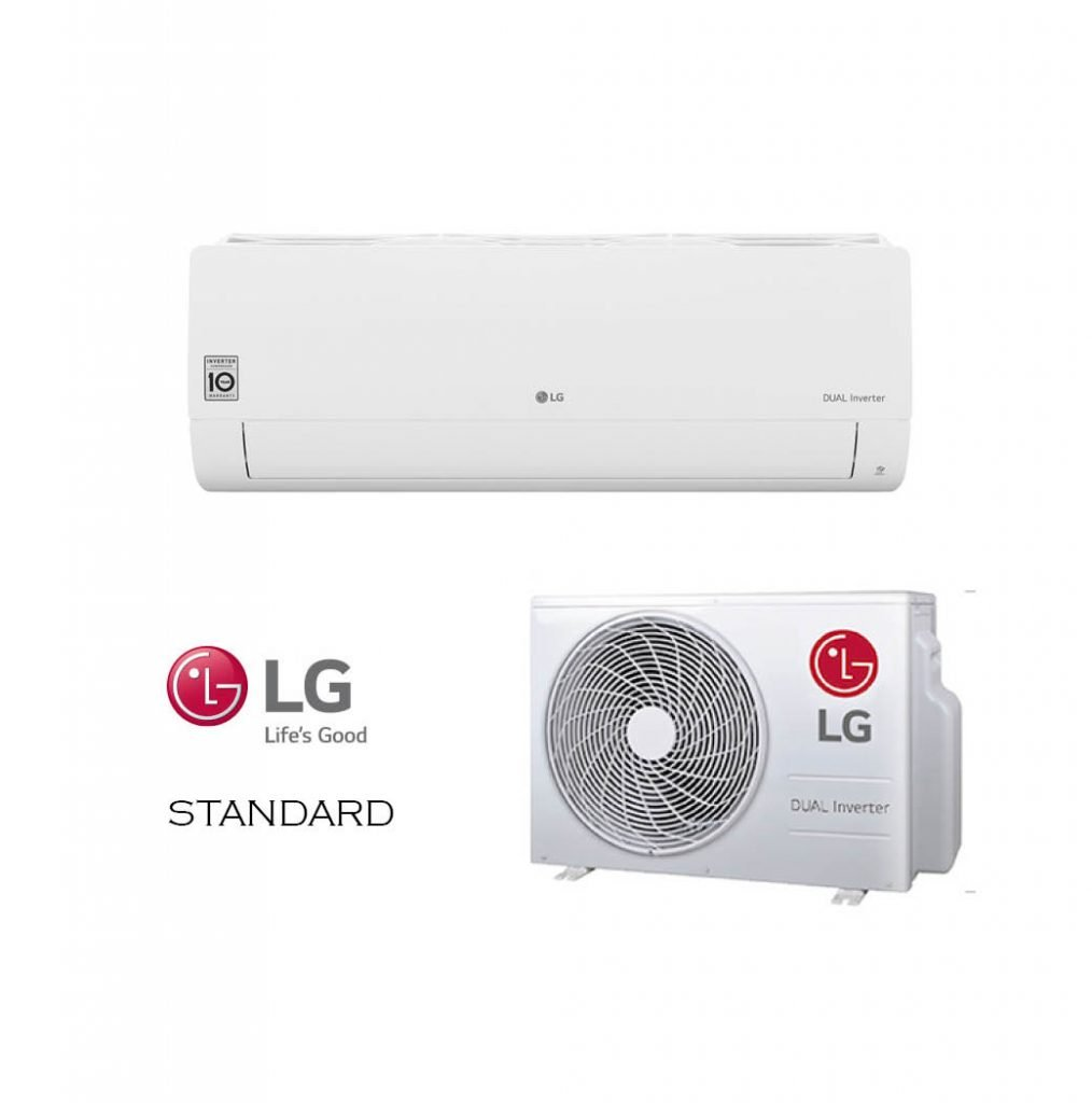 Vonkajšia a vnútorná jednotka nástennej klimatizácie značky LG STANDARD