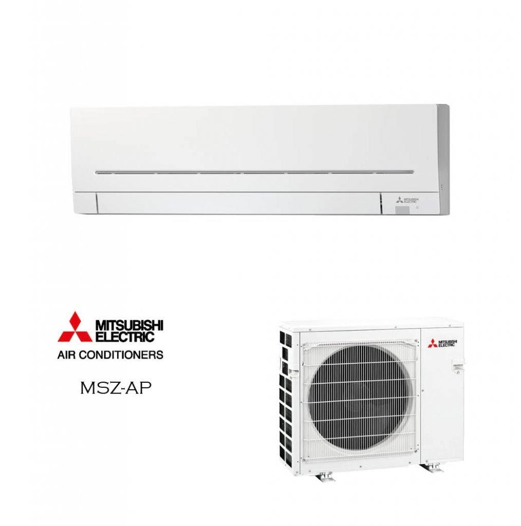 Vonkajšia a vnútorná jednotka nástennej klimatizácie značky Mitsubishi MSZ-AP