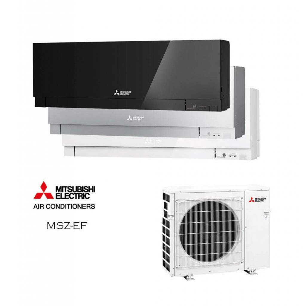 Vonkajšia a vnútorná jednotka nástennej klimatizácie značky Mitsubishi MSZ-EF