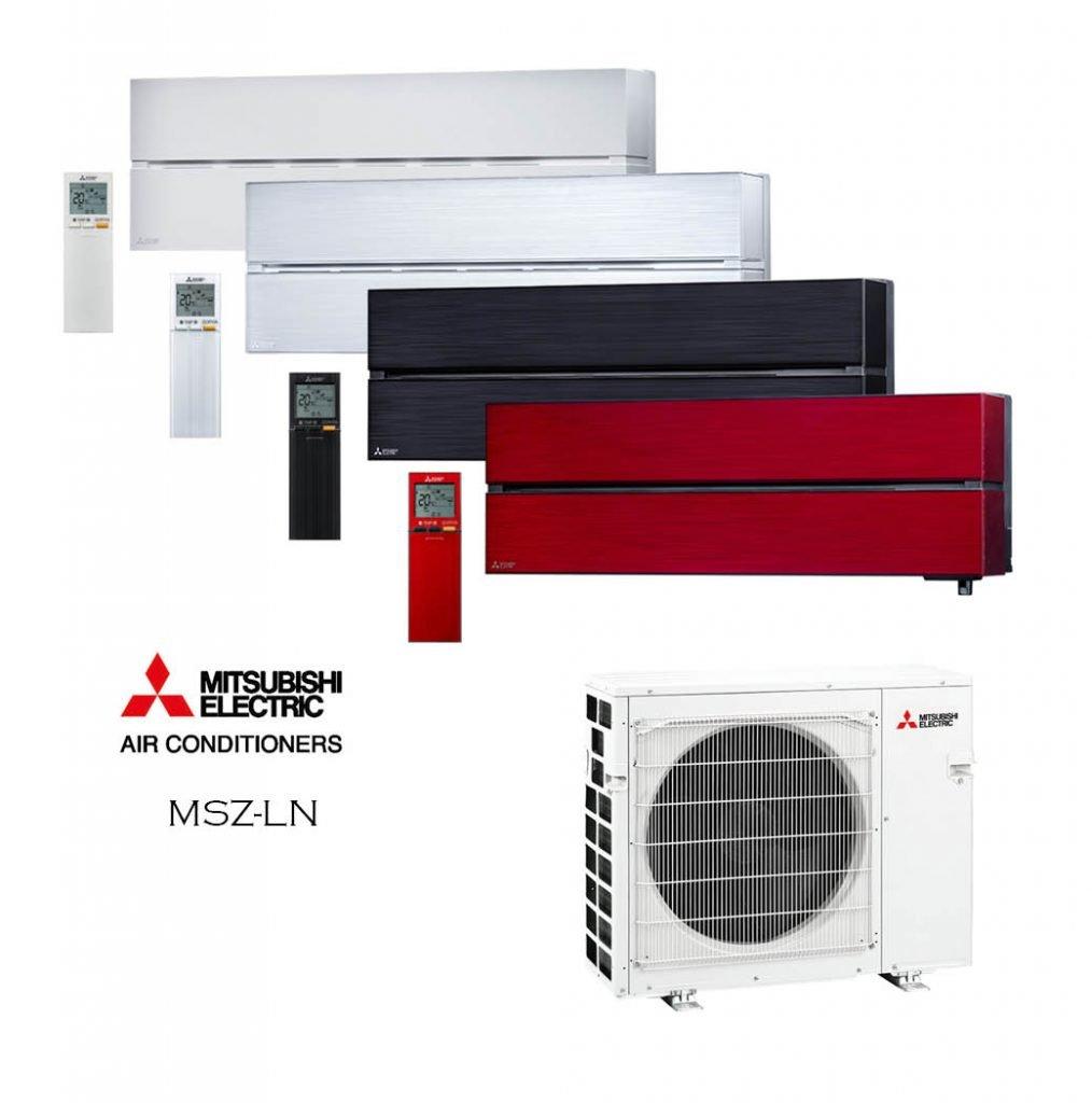 Vonkajšia a vnútorná jednotka nástennej klimatizácie značky Mitsubishi MSZ-LN