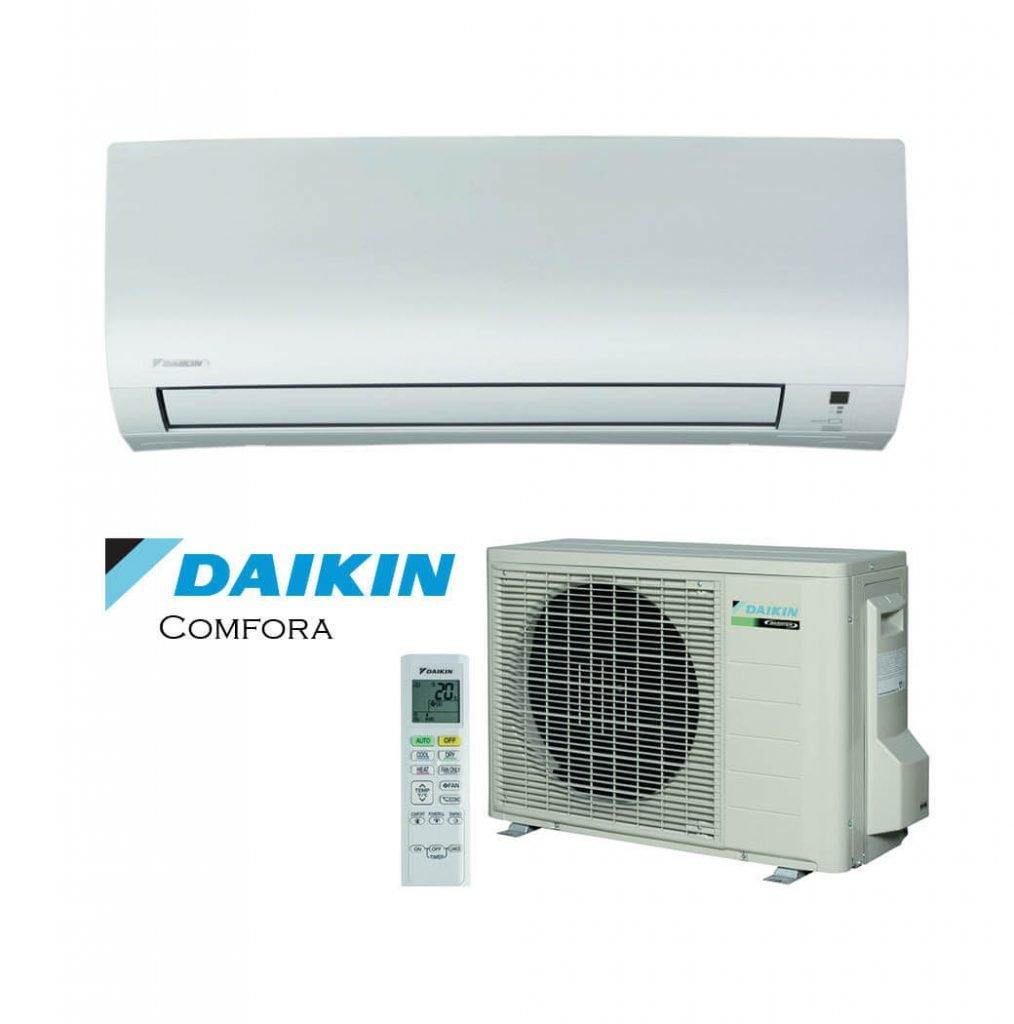 Vonkajšia a vnútorná jednotka nástennej klimatizácie značky Daikin Comfora