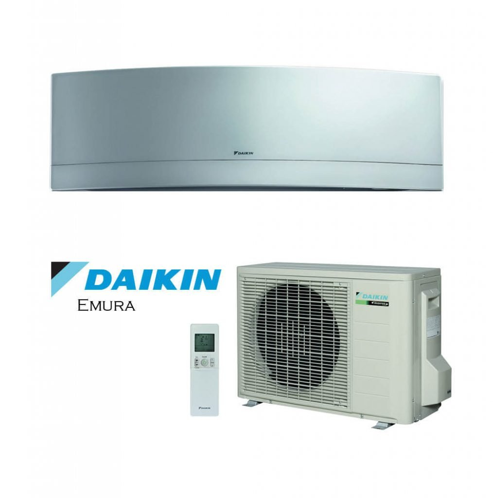 Vonkajšia a vnútorná jednotka nástennej klimatizácie značky Daikin Emura strieborná