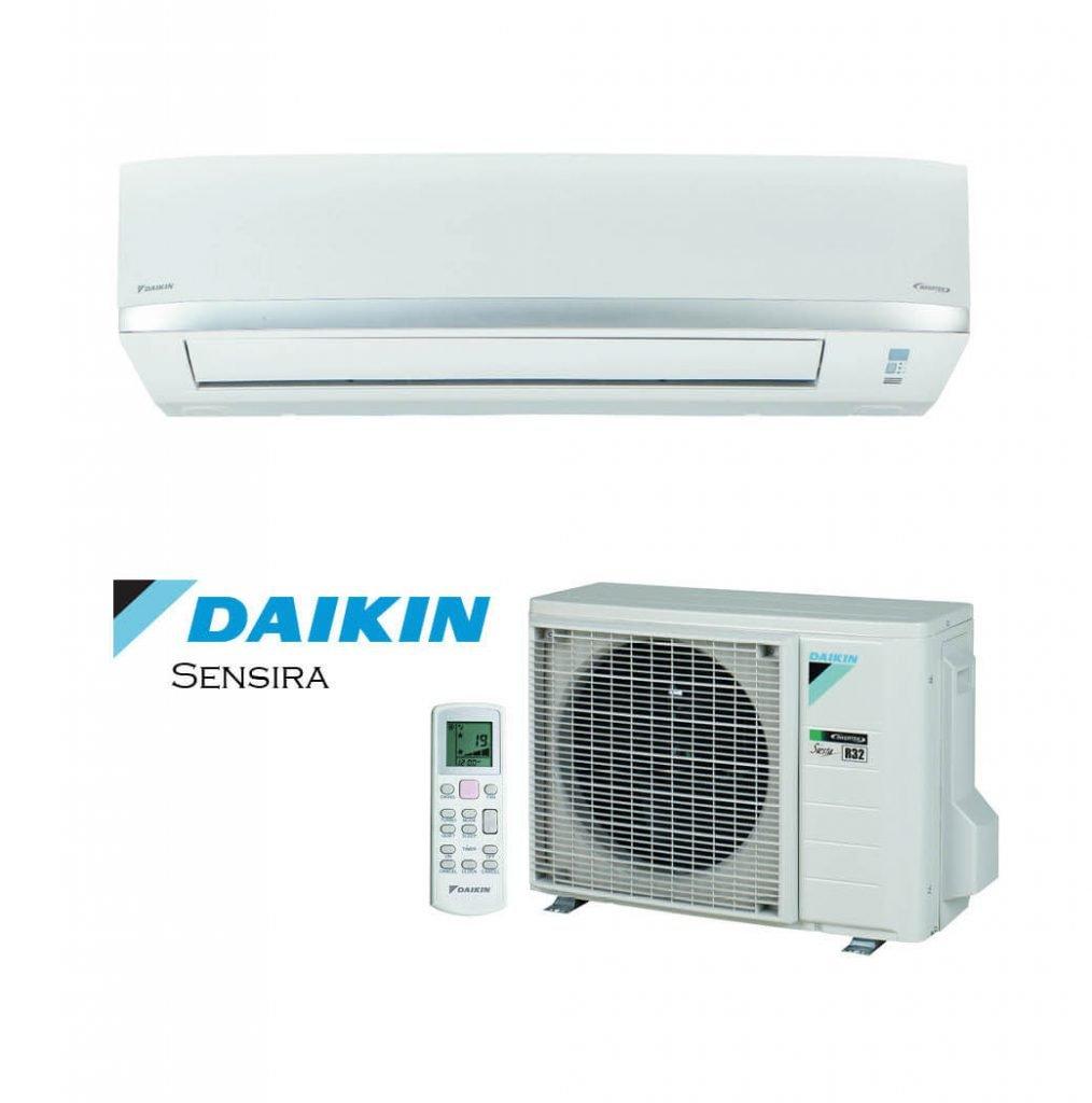 Vonkajšia a vnútorná jednotka nástennej klimatizácie značky Daikin Sensira