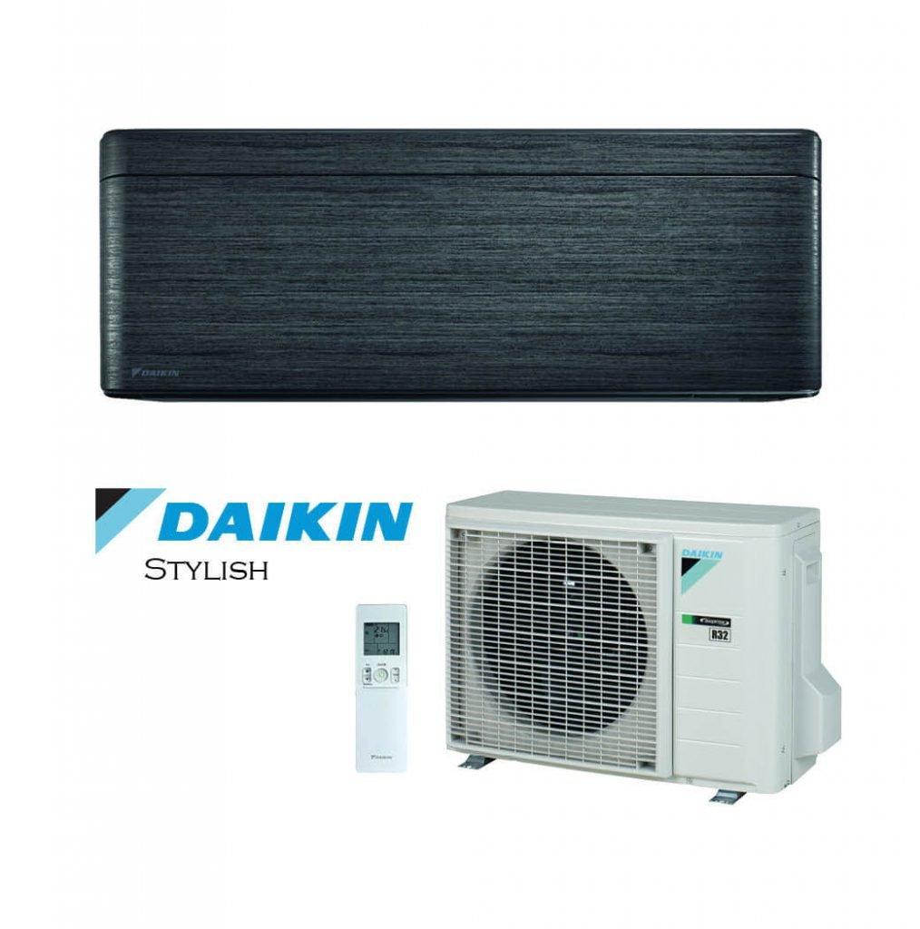 Vonkajšia a vnútorná jednotka nástennej klimatizácie značky Daikin Stylish čierna žíhaná