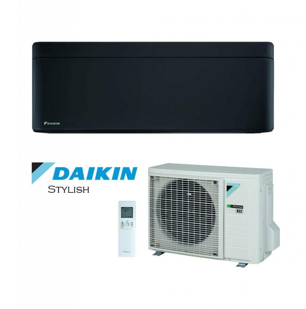 Vonkajšia a vnútorná jednotka nástennej klimatizácie značky Daikin Stylish čierna